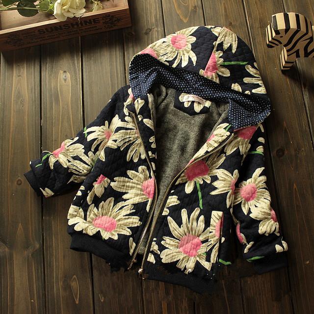 2014 winter girls korean baby clothes fleece jackets,kids print flower coat,chldren thick warm coats,black hooded hooies 2-7T(China (Mainland))