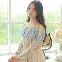 Women New Shirts Garment sweet Dew Shoulder 2015 Spring Autumn Outfit Falbala Brief Paragraph Small Smock W83201