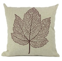 Free Shipping Printed Leaves cotton Linen pillow cover cushion cover /Decorative Pillow  /Sofa cushion 45X45CM