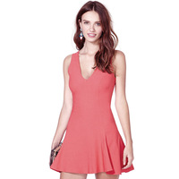Women Dress European Style Front Back Deep V Design V-Neck Sleeveless Slim Waist Short Style Pink Tank Top Mini Dress D375