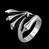 Punk Rock Style Male Rings Cool Men Party Jewelry Fashion Titanium Stainless Steel Skull Claw Silver Color Free Shipping GMYR017