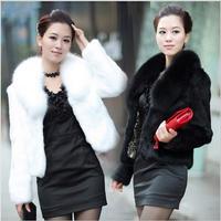 2014 New Women Winter Faux Fur jacket Fashion temperament Short style Large Fur Collar Covered Button rabbit fur coat 2 Colors