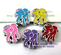 SL206 100pcs 8mm mix color Elephants  Slide Charms Fit Pet Collar Wristbands