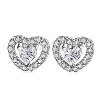 GNE1036 New 2014 Fashion 925 Sterling Silver Zircon Love Heart Earrings 6.3*7.4mm Silver Stud Earrings for Women Free Shipping