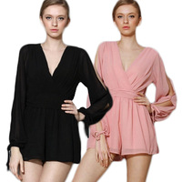2015 Womens Chiffon Jumpsuit Criss-cross Romper Lantern Sleeve Playsuit Shorts Deep V-neck Ruched Sexy Loose Overalls Clothes