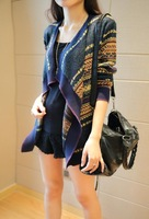 2014 New Designer Autumn Casual Striped Cardigan Womens Fashion Batwing Long Sleeve Loose Cardigan