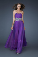 Gorgeous strapless gown with dramatic waist adorned with oversized stones and unique cut out back evening dresses 2015 FSL-326