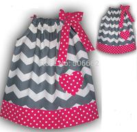 Free shipping new arrival Child Chevron Dots Summer sleeveless Dress Kids zigzag Summer dress Children's clothing garments