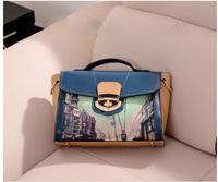Vintage Ladies Town Printed Messenger Bag,Leather Colorful Print Girls casual-bag Bolsas Handbag Crossbody Bag for Women