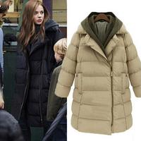 Europe 2014 winter new fashion thick warm down parka adjustable hood medium-long coat plus size S-3XL solid female jacket fw-488
