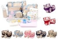 Free CN P&P 5pcs/set Multifunctional Baby Pad Diaper Nappy Changing Women Tote Handbag Travel Shoulder Bags