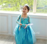 2014 New Arrival Frozen Elsa Custume Dress Summer  Veil Cute Long Sleeve  Blue Princess Dress  for Girls Freeshipping FZA007