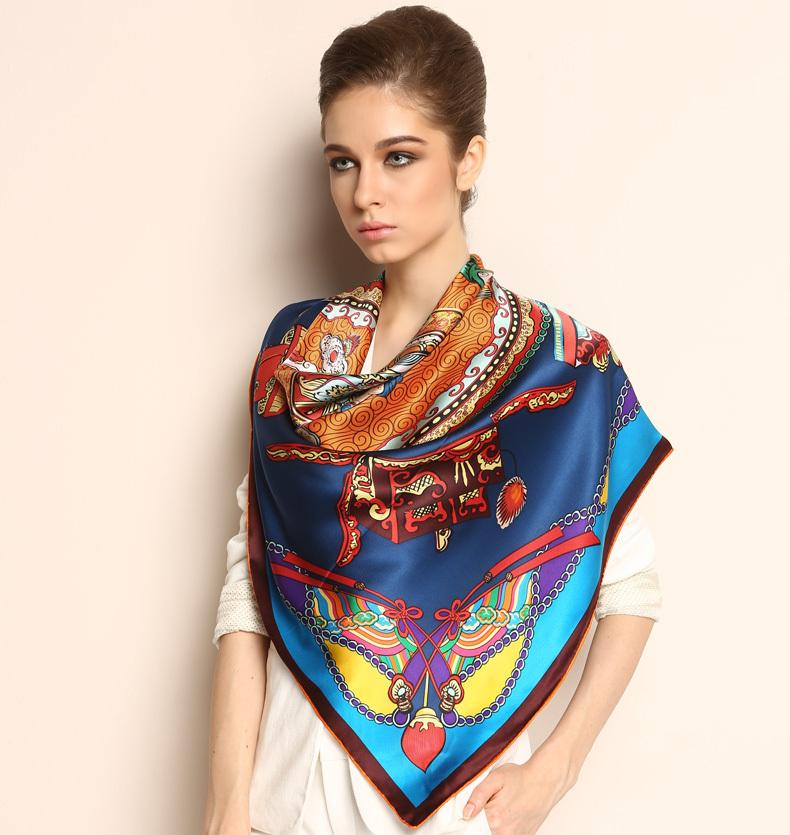 Fashion Pure Plain Silk Scarf Shawl/Wrap Floral Extra Large Square 42 1021130081(China (Mainland))