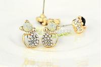 Hot Sale! New 1 Pairs Beautiful Korean Style Sweet Design Imitate Diamond Cute Cat Bow Stud Earrings Jewelry, JW40