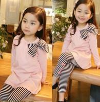 Children clohting set spring autumn sets, girls clothes,kids wear, Bow/bowknot long-sleeve stripe suit (pink)