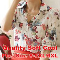 2015 Tropical Blouse Shirt Chiffon Flower Print Soft S-XXXXL 5XL 6XL Plus Size Blusas Femininas Female Clothes Summer Women Tops