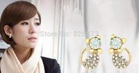 Wholesale! Trendy 10 Pairs Korean Style Sweet Design Imitate Diamond Cute Cat Bow Stud Earrings Jewelry, JW40-10