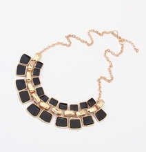 New arrival Punk Gold plated Hollow geometric enamel Collar Statement necklace For women Christmas Gift 2N309