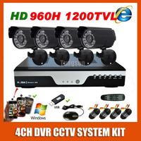 Home HDMI Surveillance 960H DVR Sony Effio 1200TVL Waterproof Night Vision Camera Kit CCTV Security 4CH Video System