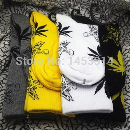 new brand 4 colors Weed long socks Cannabis Marijuana street wear style Skateboard fixed gear sport hiphop cool socks unisex(China (Mainland))