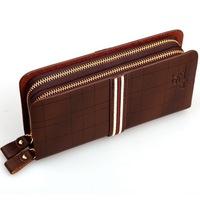 free shipping double zipper brand PU leather men's wallet clutch carteira money bags for men brown khaki purse