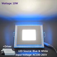 Free Shipping 10W Downlight Ceiling Panel Light LED Square Blue+White Lamp AC100-265V LEDTD016