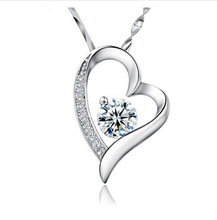 free shipping 2014 new Love the new Korean jewelry silver Fashion sterling silver Jewelry Pendant Necklace Pendant Heart