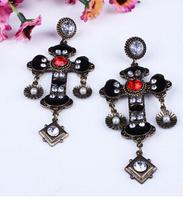 Free shipping European and American big retro fashion Bohemian Baroque palace long cross earrings,earing turquoise