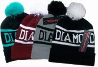 2014 Fashion Winter Christmas Gift Gorro DIAMOND Letter Pompon Beanies Men Women Acrylic Caps Hats Skull Beanies 4 Colors