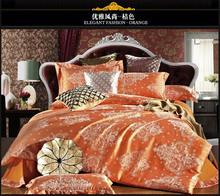 Orange silk bedding set 4pcs wedding bed cover silk bed set  60s yarn bedding-set queen comforter cover new design sale 5025(China (Mainland))