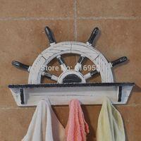 Mediterranean European-style wooden hook artware helmsman modelling Creative wall hanging home decoration best housewarming gift