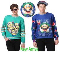2014 Autumn Men Clothes Long Sleeve skull Super Mario Print Cartoon Animal Casual Sports tops galaxy diamond Sweatshirt harajuku