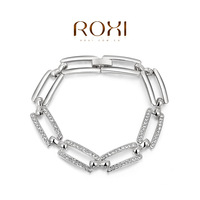 New Sell Wholesale ROXI Fashion Accessorie CZ Diamond Gold Plt with SWA Element Classic Rectangle Bracelet Love Gift for Women