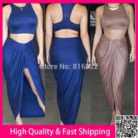 2 Piece Bandage Bodycon Dress Long Casual Dress 2014 Fashion Women Clothing Vestidos Sexy Hight Slipt Summer Dress Free Ship