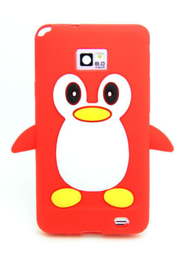 Luxury Cute Cartoon 3D Penguin Silicone Soft TPU Phone Bags Case Cover For Samsung Galaxy S2 i9100 SII Red + Screen protector(China (Mainland))
