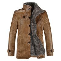 Mens One Piece Leather Thicken Jackets Winter Warm Business Jacket Men Formal Outwear Coat Jaqueta Couro Masculina Big Size XXXL