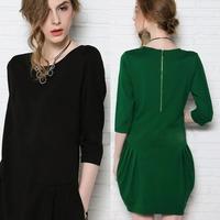 Fashion New Autumn Dress For Woman Winter Dresses Casual Dress O Neck  Zip Up Unique Chic Lady Dresses H6257