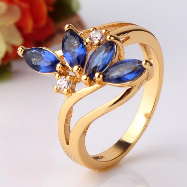 Especial Design 24K Gold Plating Rings Water Drop Cut Royal Blue Crystals CZ Band Rings Love