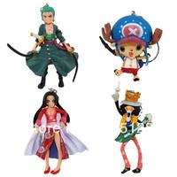 Free Shipping 4pcs/lot Action Figure Anime Cartoon One Piece Keychain Chopper / Zoro / Brook / Boa Hankokku Key chain