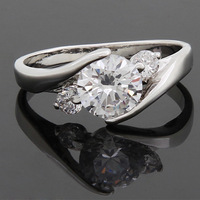 2014 Christmas Gift 18K Gold Plated CZ Romantic Simple Opal Rings Designer Fashion engagement rings for women