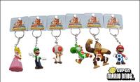 Free Shipping Super Mario Keychain cute Figure ornaments Princess Dinosaur gorilla mushroom people Key chain  6pcs/set