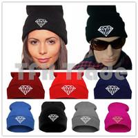 2014 Vogue Winter Christmas Gift Gorro DIAMOND Shape Beanies Men Women Acrylic Caps Hats Skull Beanies 8 Color Free Shipping
