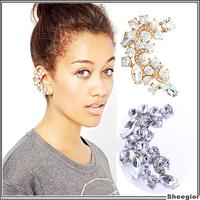 2 colors Rock Shiny Crystal Ear clip earrings Gold Silver Rhinestone Ear cuff earrings Brincos Earcuff Jewelry for women