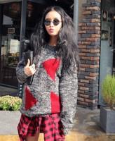 9857#2014 winter fashion triangular U neck sweater long sleeved Pullover