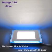 Free Shipping 15W LED Panel Light Blue+White Recessed Ceiling Lamp Square AC100-265V + Driver LEDTD017