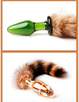 Wholesale women's fox tail glass anal plug adult sexy Crystal bullet butt plug intimate special toys for couple