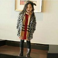 [retail] hot sale girls girls autumn winter fashion Houndstooth coat kids thick woolen jackets 172