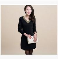 free shipping ! girl's long sleeve solid dress women's big size spring fall clothing female v-neck mini dress