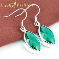 Best Xmas Gifts Trendy brincos grandes Unique Jewelry Green Amethyst Earrings For Women Silver Dangle  Earrings