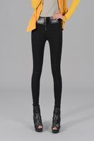 New S-XXL 2014 Autumn Cotton skinny Pants Women's Elastic Faux Leather Black Patchwork Cotton Pencil pants Designer Casual pants